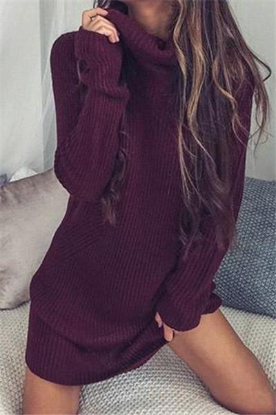 Awadolls Casual Knit Turtleneck Solid Color Sweater Dress