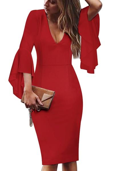 Awadolls Flared Sleeve Bodycon Dress