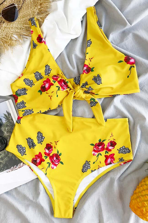 Awadolls Lost In Flowers Tie Floral Print Bikini Set