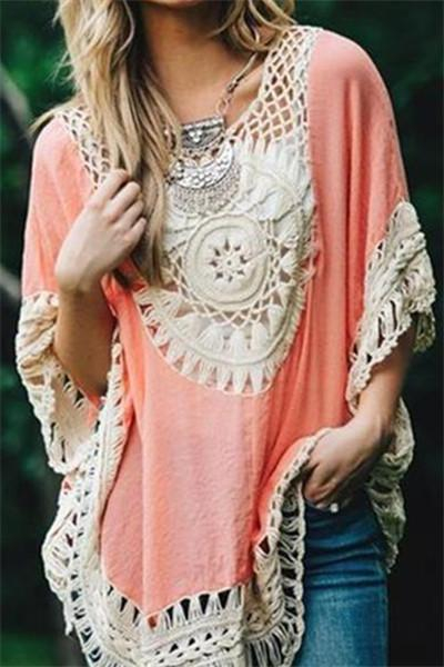 Awadolls Hollow Crochet Blouses Bohemian Seaside Cover Up Tops