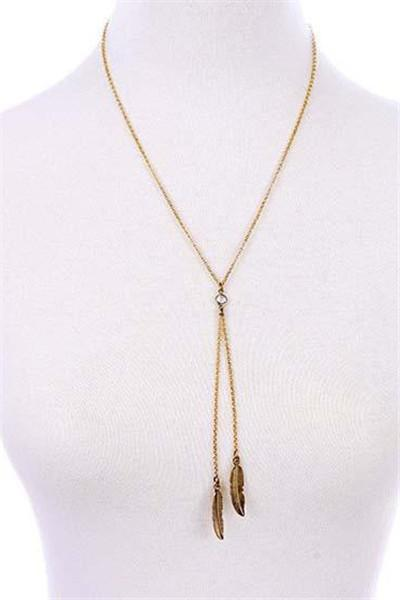 Awadolls Golden And Crystal Stone Leaf Pendant Necklace