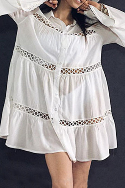 Awadolls Lace Trim White Shirt Cover Up