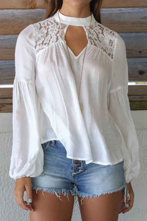 Awadolls Lace Trim White Blouse