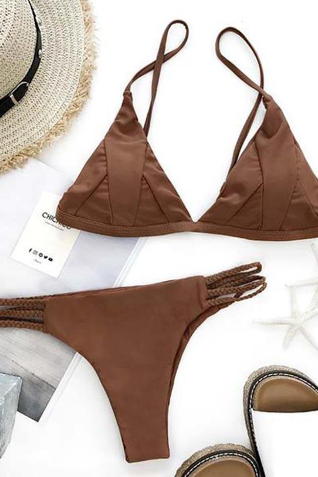 Awadolls Sexy Fashion Solid Color Two Pieces Bikini Set