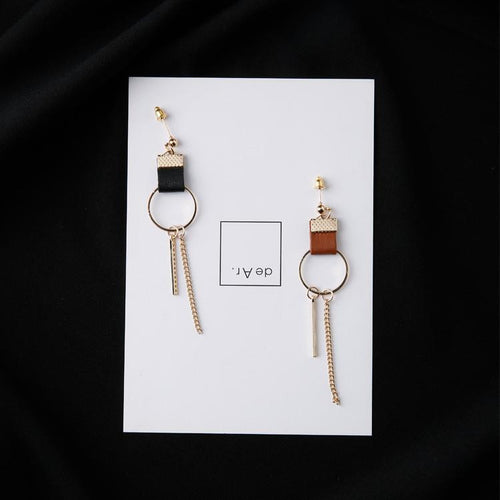 Awadolls Leather Circle Tassels Earring