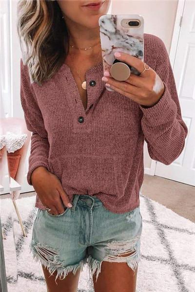 Awadolls Casual Button Up Pullover
