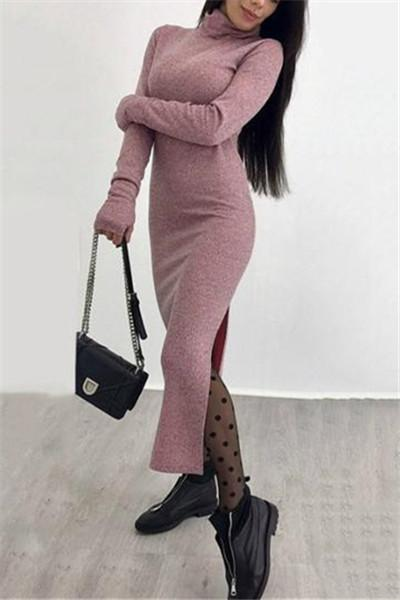 Awadolls Turtleneck Bodycon Maxi Dress