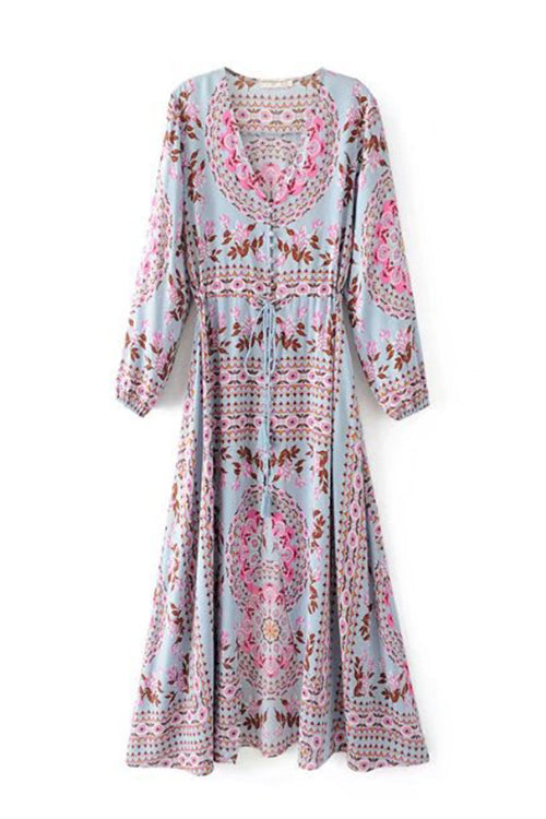 Awadolls Boho Printed Midi Dress