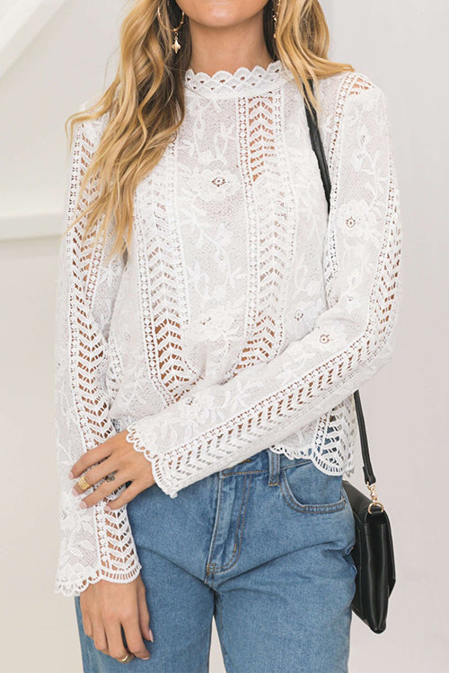 Awadolls Fashion Hollow Out Lace Blouse