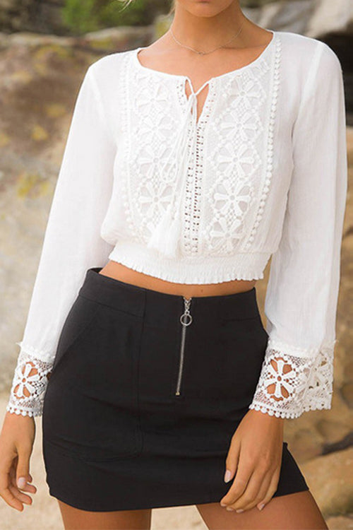 Awadolls Lace Trim Crop Top