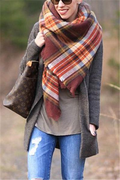 Awadolls Fashion Plaid Cofffee Scarf