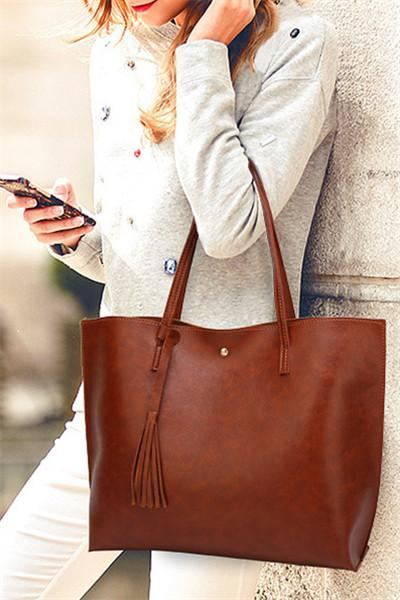 Awadolls Solid Color Leather Tote Bag