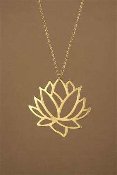 Awadolls Delicate Lotus Flower Gold Chain Necklace