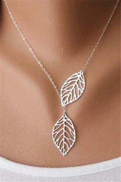 Awadolls Personlized Leaf Pendant Necklace
