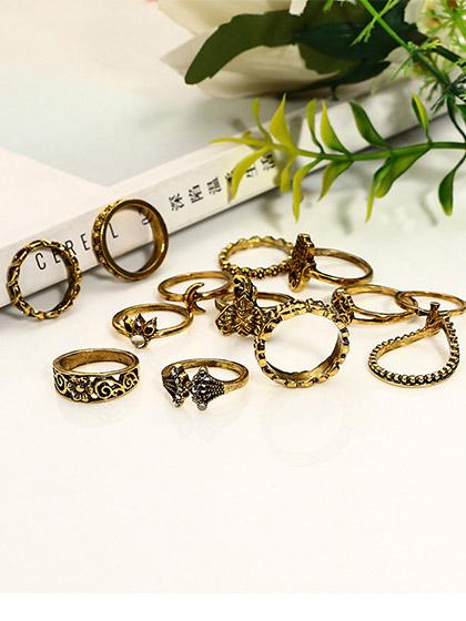Awadolls Boho Vintage Hollow out Alloy Rings (Set Of 13 )