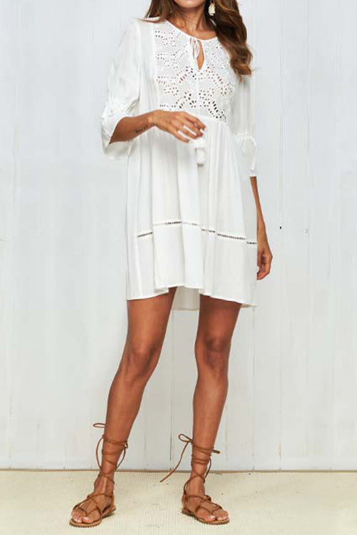 Awadolls Bobo Lace Trim White Chiffon Dress