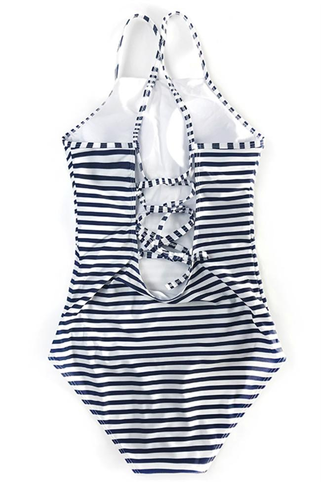 Awadolls Cute Striped One Piece Swimsuit