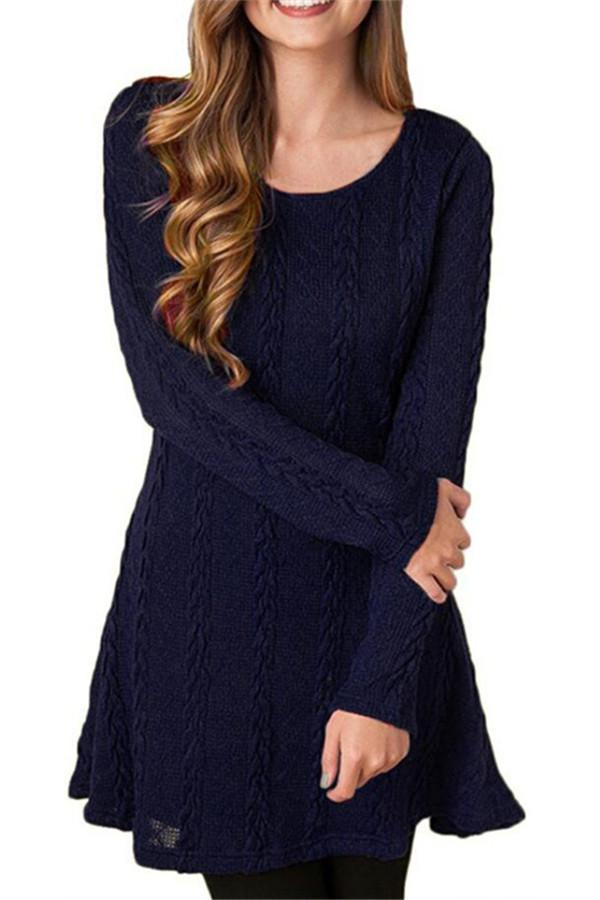 Awadolls Fashion Cable Knit Sweater Dress