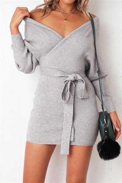 Awadolls Fashion V-neck Sweat Dress