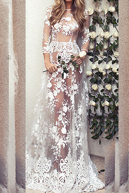 Awadolls Sexy See Through Lace Maxi Dress
