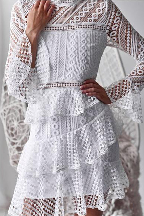 Awadolls Fashion Openwork Lace Tiered Dress