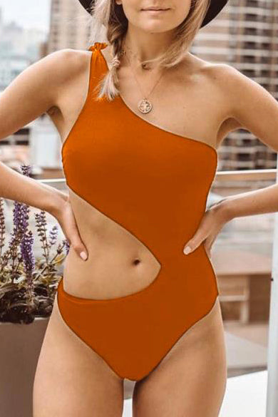 Awadolls Cute Tie Solid Color One Piece Swimsuit