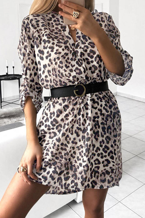 Awadolls Fashion V-Neck Snake Leopard Printed Shirt Dress