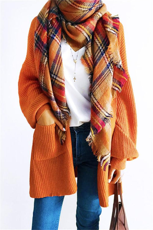 Awadolls Casual Oversize Orange Cardigan