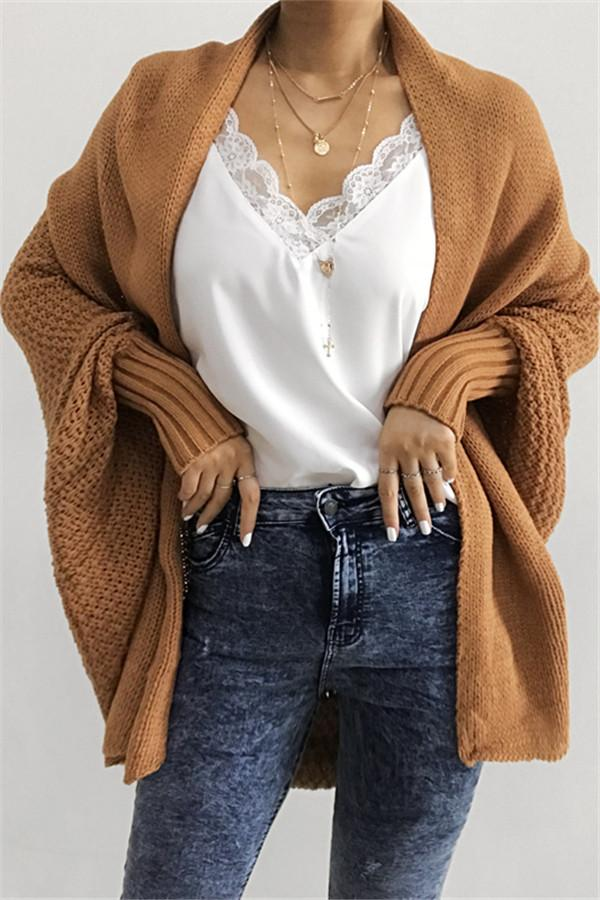 Awadolls Stylish Open Collar Oversize Casual Solid Color Cardigan