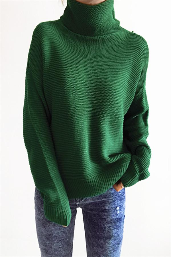 Awadolls Fashion Casual Solid Color Turtleneck Sweater