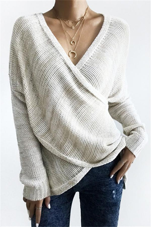 Awadolls Simple Casual V Neck Front Cross Weekend Sweater Top