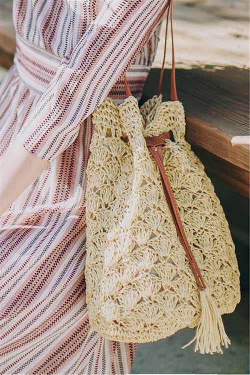Awadolls Fashion Tassels Straw Bag