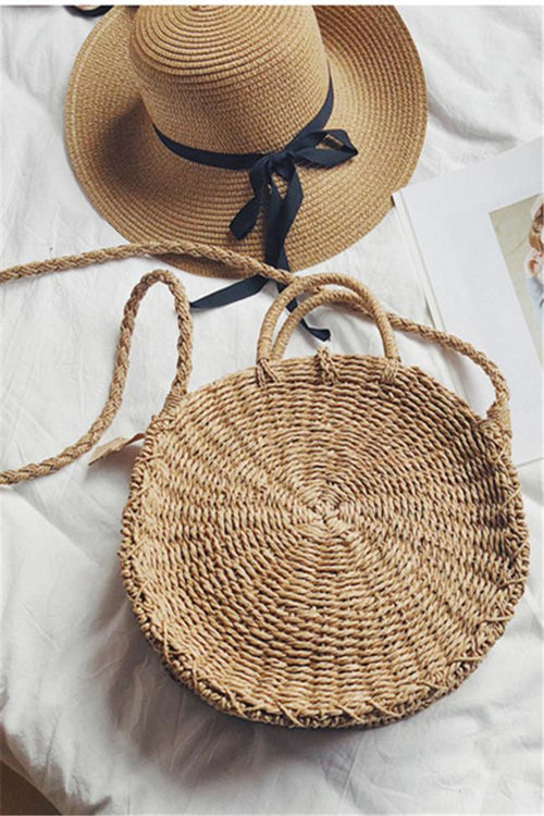 Awadolls Casual Circle Hand-woven Straw Bag