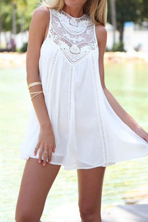 Awadolls Lace Trim White Chiffon Tank Dress