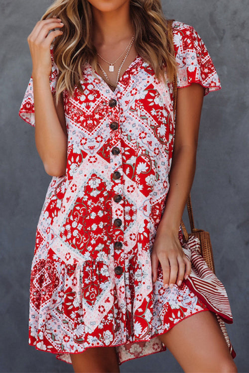Awadolls Floral Printed Flounce Mini Dress