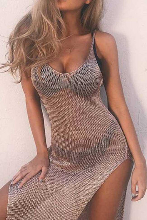 Awadolls Twinking Sexy Mesh Solid Color Bikini Dress Cover Up