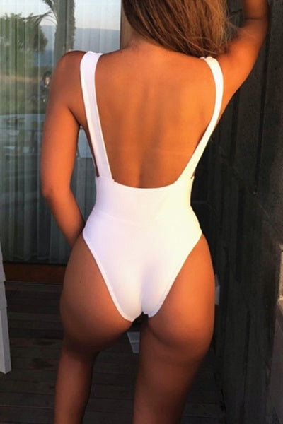Awadolls Simple Solid Color One Piece Bikini