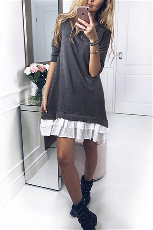 Awadolls Patchwork Hem Sweater Dress
