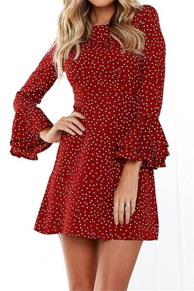 Awadolls Dot Printed Flared Sleeve Dress