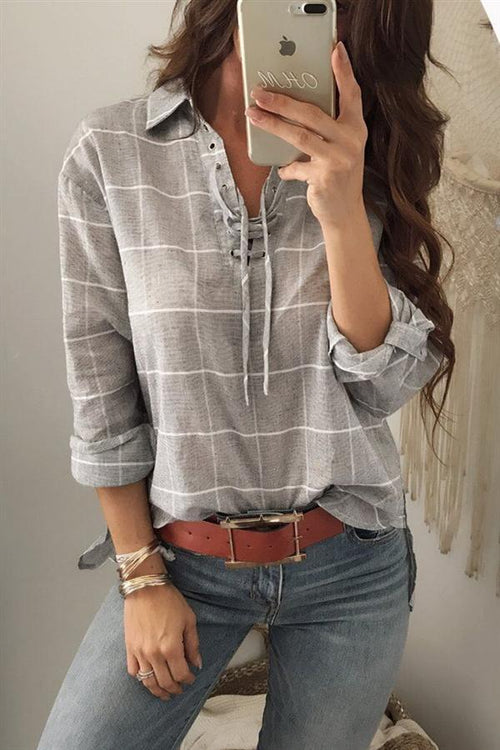 Awadolls Gray Plaid Blouse