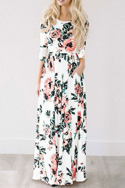 Awadolls Ecstatic Harmony Classic Rose Print Maxi Dress