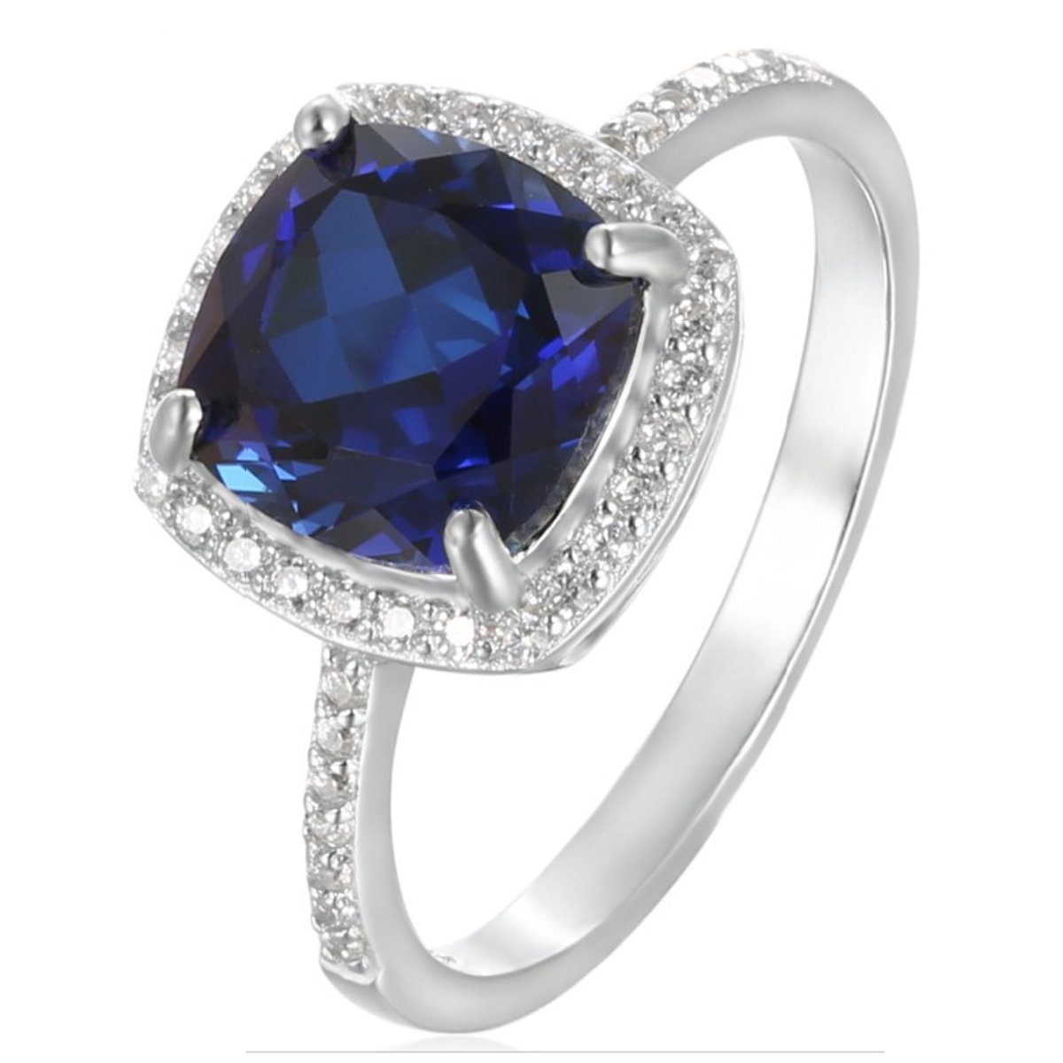 sapphire in gold ring white diamond cut engagement blue and halo cushion carat