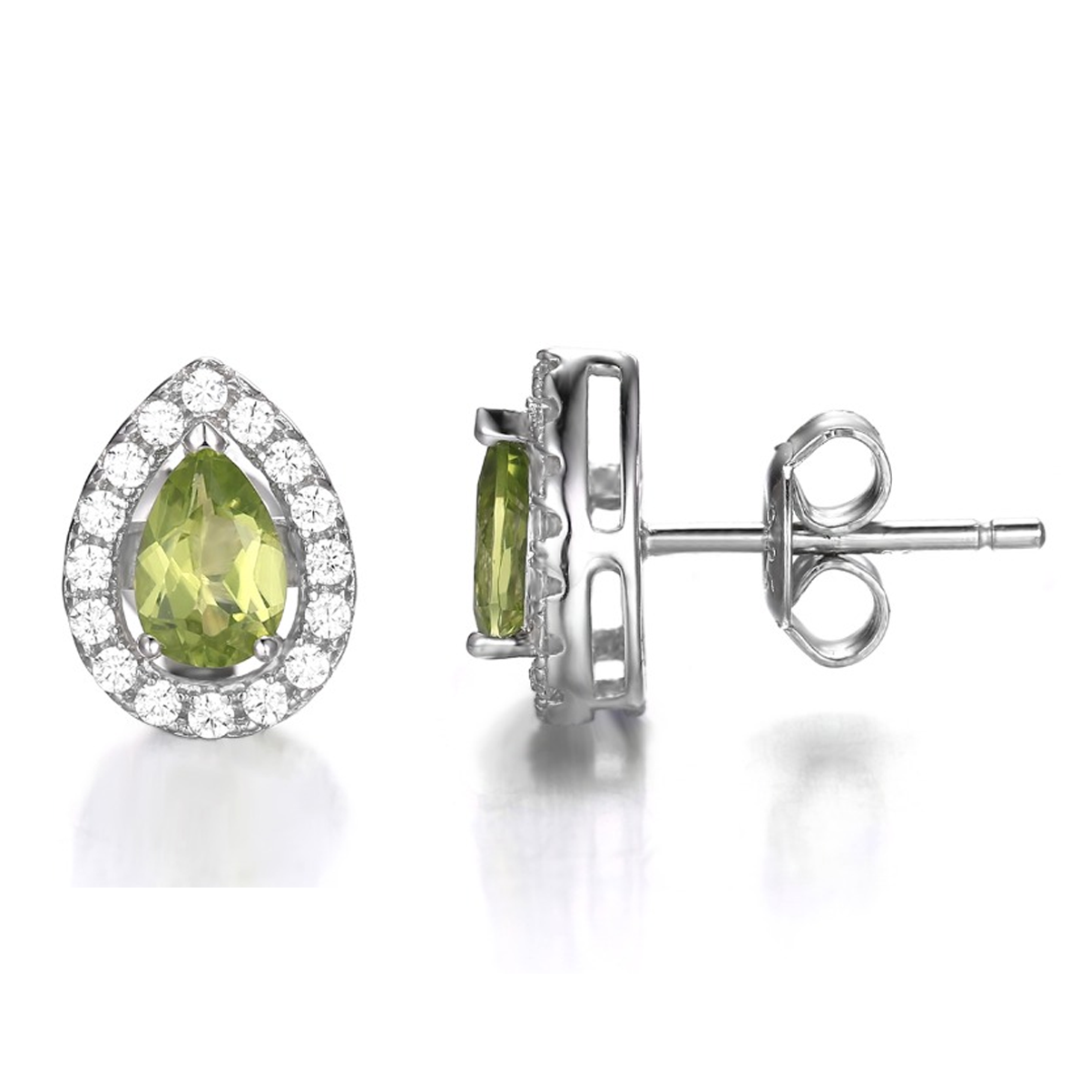 gold square peridot jewelry white stud earrings