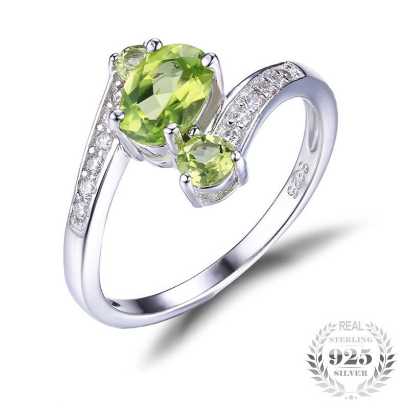 ... August 1.0ct Peridot Birthstone 925 Sterling Silver Ring ...