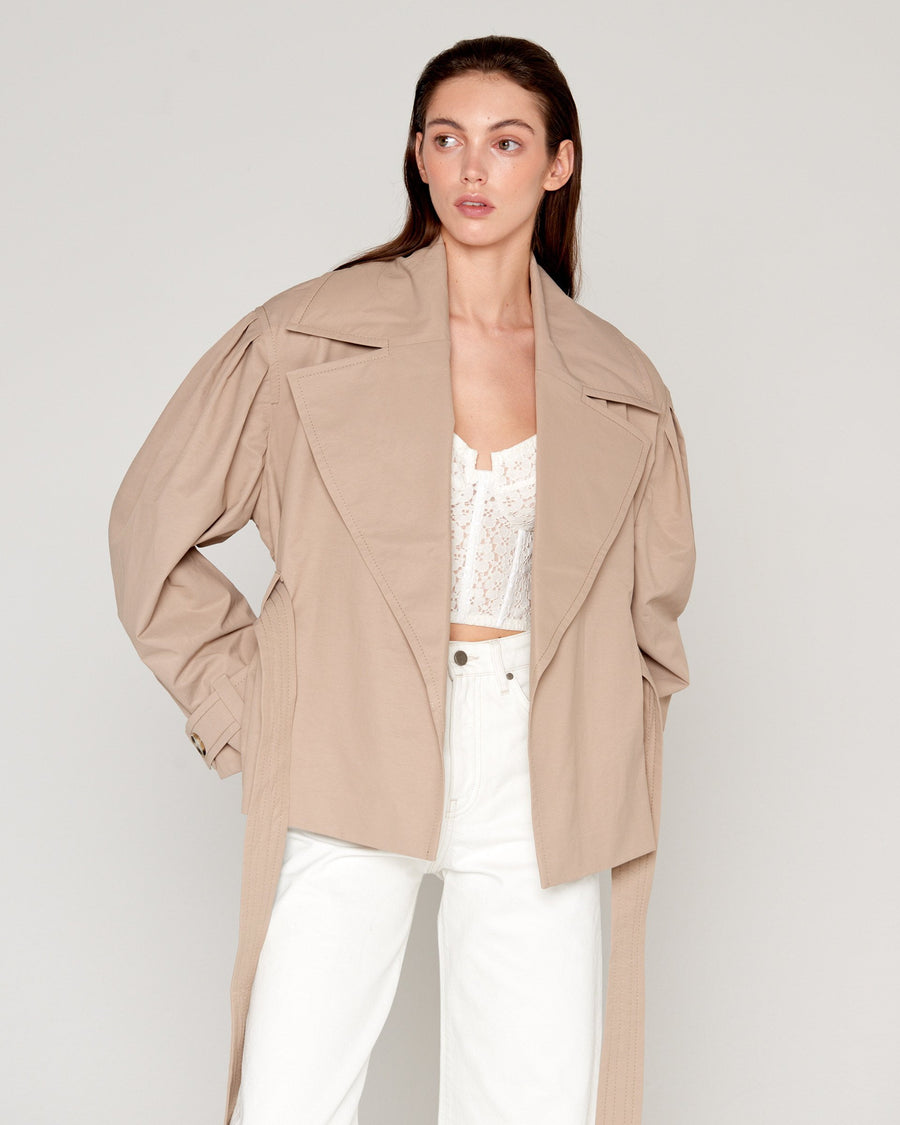 80's Trench Crop Nude