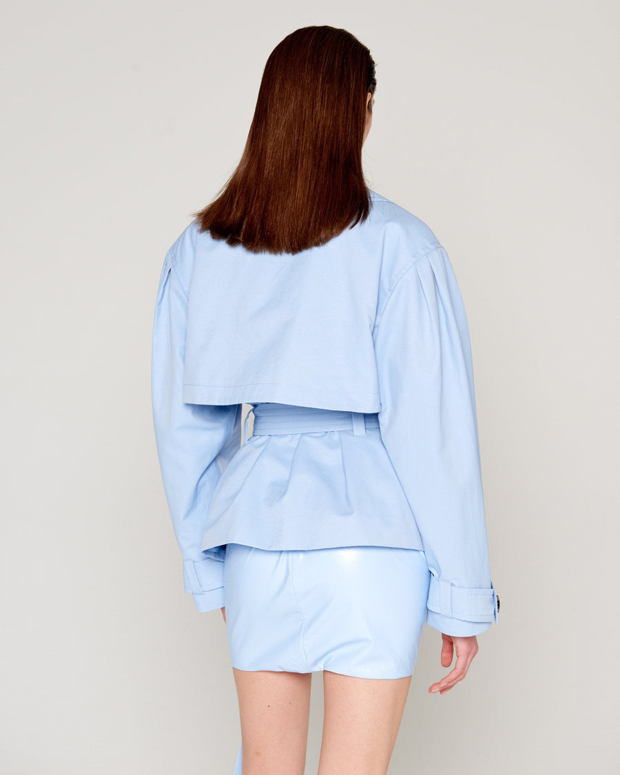 80's Trench Crop Blue