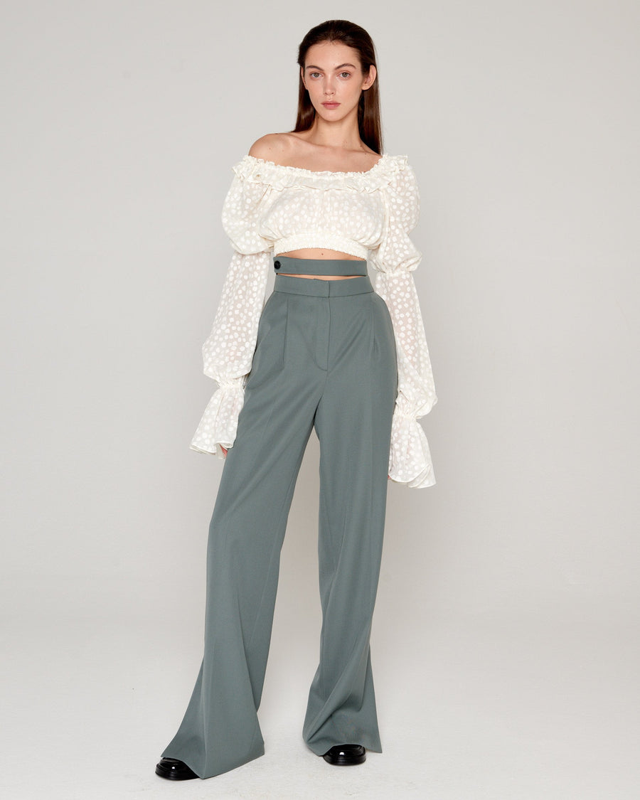 Double Belt Pants Olive