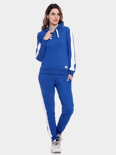 Griffel Women's Solid Fleece Basic Hoodie and Joggers Full set Blue Tracksuit