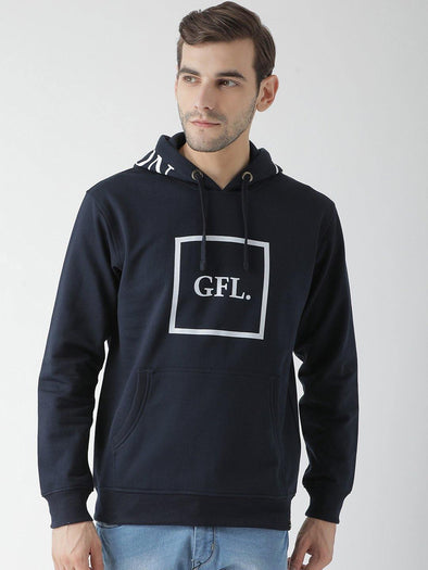 Griffel Men's Stylish Hooded Neck Navy Fleece Sweatshirt