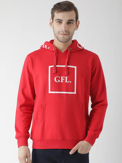 Griffel Men's Stylish Hooded Neck Red Fleece Sweatshirt